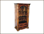 Antique Finish 4 Drawer Wooden Display Shelving Unit