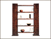 2 Pillered 5 Shelves Wooden Display Shelving Unit